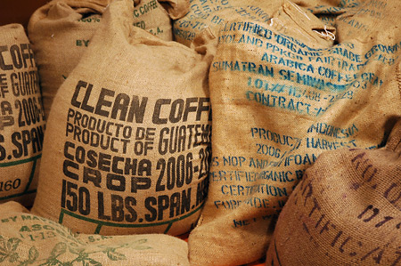 150 pound bags of raw coffee beans