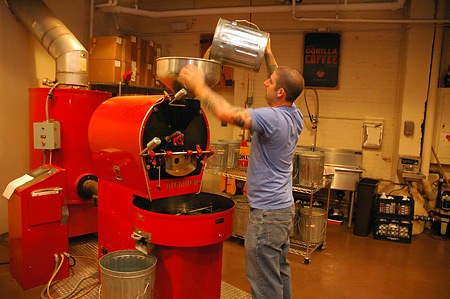 Putting the beans in the roaster