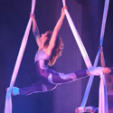 Michelle Dortignac and Hilary Sweeney performing Silks