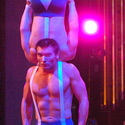 Hilary Sweeney (hammock), Vitaliy Prikhodko and Alexei Anikine performing Hand to Hand Balance